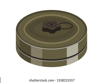 Land mine flat vector illustration. War ammunition and weapon isolated on white background. Anti tank bomb, combat, soldier equipment clipart. Military dangerous object design element