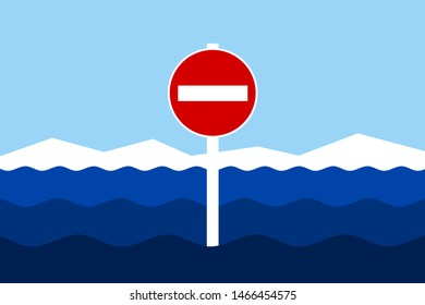 Land and No entry and Do not enter traffic sign in ocean, sea and water. Entrance to territorial waters is forbidden