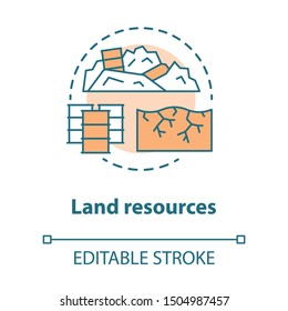 Land resources concept icon. Natural minerals usage idea thin line illustration. Soil pollution and erosion, ecological disaster. Nature contamination. Vector isolated outline drawing. Editable stroke
