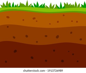 Land in the section. Brown soil layer. Background for archaeology. Underground geology. Summer landscape. Flat cartoon