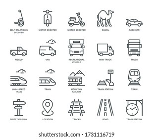 Land Transport Icons, mixed view,  Monoline concept. The icons were created on a 48x48 pixel aligned, perfect grid, providing a clean and crisp appearance. Adjustable stroke weight.