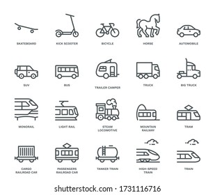 Land Transport Icons, side view,  Monoline concept. The icons were created on a 48x48 pixel aligned, perfect grid, providing a clean and crisp appearance. Adjustable stroke weight.