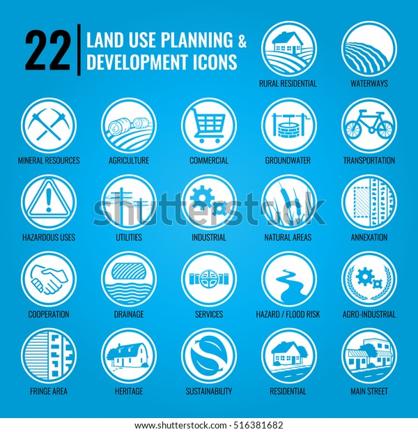 Land Use Planning Development Icons Stock Vector (Royalty