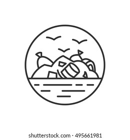 landfill site icon, linear design. Mount debris and birds. Nature pollution, isolated vector illustration.