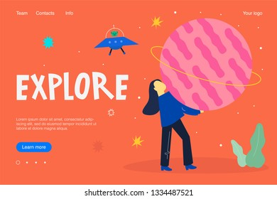 Landing concept, cartoon style illustration. About space. Explore more.