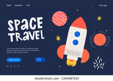 Landing concept, cartoon style illustration. About space trevel. Spaceship.