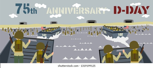 landing craft with soldiers on the landing beaches in normandy France