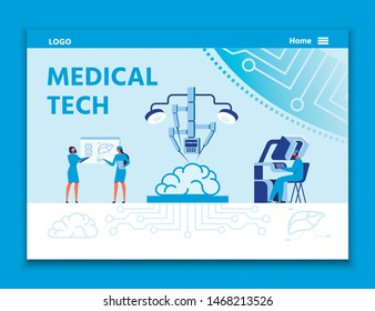 Landing Page Advertises Medical Tech for Treatment. Automated Arm Assembly Operating on Brain. Male Surgeon Controlling Robot. Female Scientists Discussing Lab Test Results. Vector Flat Illustration