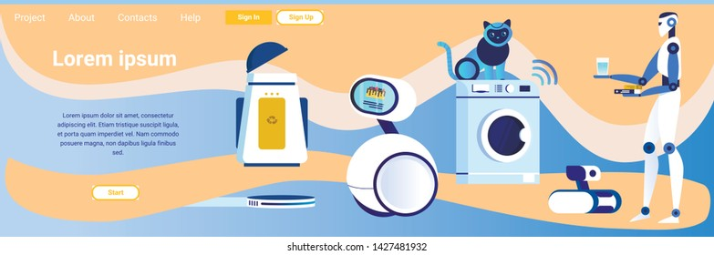 Landing Page Advertising Home Robots for Automation Household Help in Cooking, Washing Cleaning House. Cartoon Artificial Intelligence Assistance in Everyday Life. Vector Flat Illustration