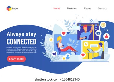 Landing page always stay connected creative website colorful vector illustration template. Business correspondence flat design online web development. Stay in touch using technology.