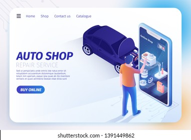 Landing Page for Auto Shop Online Mobile Application. Man Standing near Huge Smartphone and Choosing Goods for Repairing Car Serfing Internet. Isometric Sedan with Opened Hood. Vector 3d Illustration