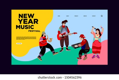 Landing Page Banner For New Year Jazz Festival. Vector Illustration of Singer, Guitarist,Saxophonist, and Keyboardist in one Band Performing at Summer Jazz Festival.