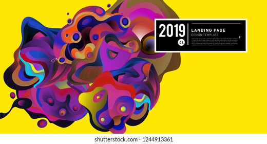 Landing Page Banner Vector Design Template with Abstract Colorful Curve Background. New Design template 2019 Graphic Trend.
