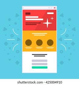 Landing page. Browser. Flat.
