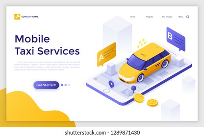 Landing page with car or cab on giant smartphone with city map on screen, departure and destination points and place for text. Isometric vector illustration for mobile taxi service advertisement.