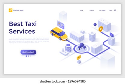 Landing page with car or cab on city map, departure and destination points, route indication and place for text. Creative isometric vector illustration for taxi service advertisement, promotion.