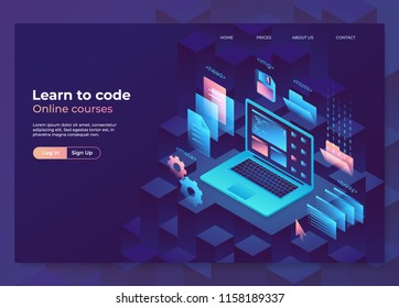 Landing page concept, header for website. Online education illustration, programming and coding process. Isometric laptop with graphic elements. Eps10 vector