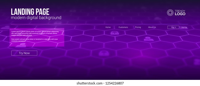 Landing page concept for Hi-tech sites. Screen with digital mesh network. Template for concept of security, social networking, deep decryption and encryption, communications. Vector illustration.