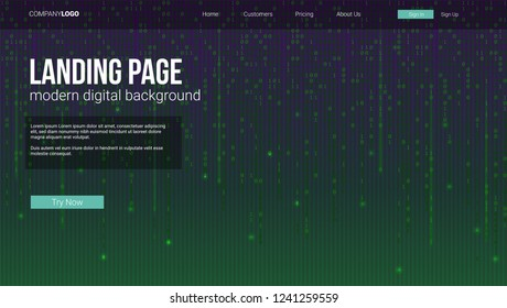 Landing page concept for sites. Screen with binary computer code. Template for concept of security, programming and hacking, deep decryption and encryption.