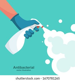 Landing page coronavirus protection. Man in gloves holds bottle of antiseptic spray. Antibacterial flask kills bacteria. Disinfectant concept. Vector flat design. Hygiene home and personal hygiene.