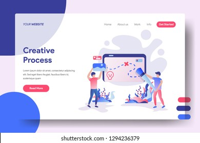 Landing page Creative Process, the concept of a man inserting images on a board, can be used for landing pages, web, ui, banners, templates, backgrounds, flayer, posters - Vector