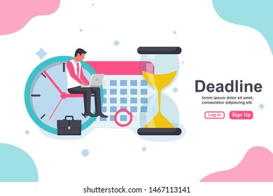 Landing page deadline concept. Business metaphor. Business tasks scheduling on week. Vector design. Isolated on background. Time management. Planning deadline. Businessman with laptop sit on clock