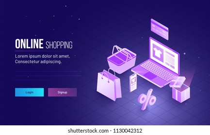 Landing page design with 3D illustration of laptop and shopping bucket, bag and credit or debit card for Online shopping concept.