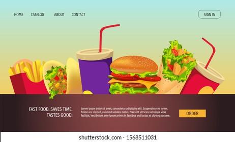 Landing page design for fast food, street cafe, cooking, food ordering, junk food. Burger, Kebab, Tacos, French fries, Soda drink. Vector illustration for banner, poster, website, menu, flyer.