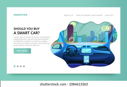Landing page design with futuristic car interior illustration, interface car elements flat vector illustration. Clean site design with slider.