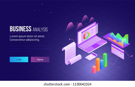 Landing page design with isometric view of laptop analysis data for company growth or success concept.