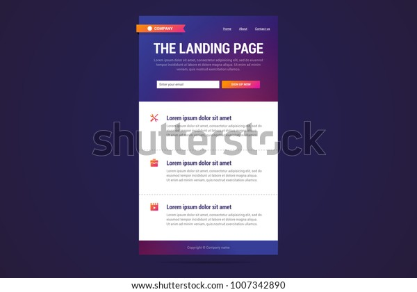 Landing Page Design Modern Gradient Style เวกเตอร์สต็อก