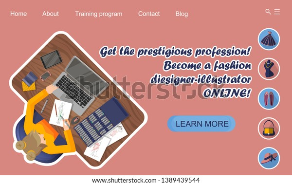 Landing Page Design Online Education Online Stock Vector Royalty Free 1389439544