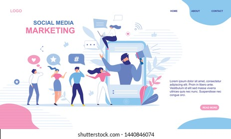 Landing Page Design. Social Media Marketing Advertisement. Man on Mobile Screen Announcing in Megaphone Special Offer. Active People Network Users Group. SMM Strategy. Vector Flat Illustration