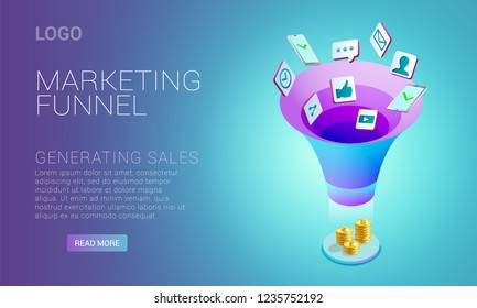 Landing page design, template with concept of marketing funnel, marketing strategies, earnings money, attraction new clients, vector illustration