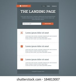 Landing page in flat style with features icons and sign up form. Vector template.