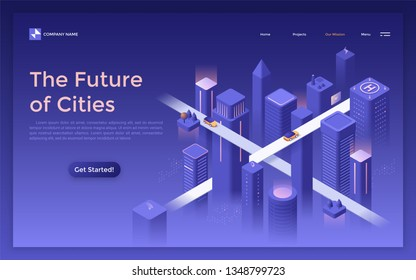 Landing page with futuristic down town at evening, glowing buildings and skyscrapers, road intersection or crossroad. Future of city planning, development, construction. Isometric vector illustration.