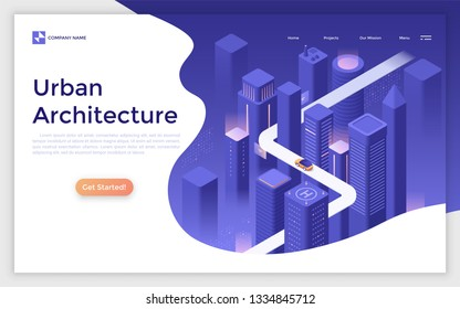 Landing page with futuristic megalopolis, modern buildings and skyscrapers, car riding along road and place for text. Urban architecture, city planning and development. Isometric vector illustration.