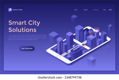 Landing page with futuristic megalopolis at night, glowing buildings and skyscrapers on smartphone screen. Smart city solutions. Isometric vector illustration for mobile application advertisement.