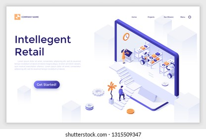 Landing page with giant computer display and robots working at warehouse inside, customer ascending stairs. Intelligent retail, online store with robotic fulfillment system. Vector illustration.