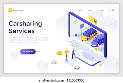 Landing page giant computer display with automobiles on parking and customer ascending stairs. Carsharing or car rental service. Modern isometric vector illustration for website, advertisement.