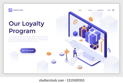 Landing page with giant computer display with gift boxes inside and customer ascending stairs. Online store or shop loyalty program with bonuses or rewards. Modern isometric vector illustration.