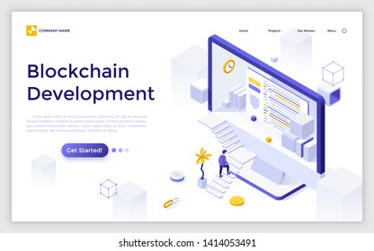 Landing page with giant computer display, man ascending stairs and bitcoin. Blockchain or cryptocurrency technology development. Modern isometric vector illustration for web service advertisement.