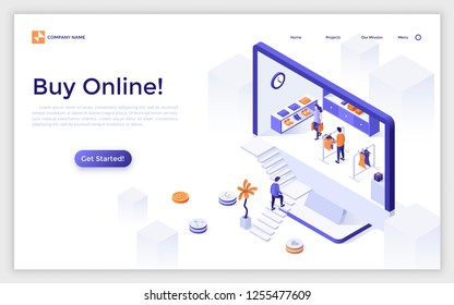Landing page with giant computer monitor or display with people buying goods inside and place for text. Online shopping, internet retail. Modern isometric vector illustration for advertisement, promo.