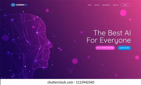 Landing page with human face made by digital mesh network for best AI concept.