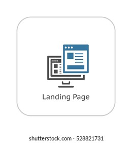 Landing Page Icon. Business and Finance. Isolated Illustration. Desktop with web page. Descktop computer with landing page.