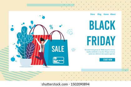 Landing Page Inviting on Black Friday Online Sale. Seasonal Discount. Cartoon Happy Jumping Woman Character and Huge Flat Shopping Bags Design. Vector Text Illustration in Creative Color Frame