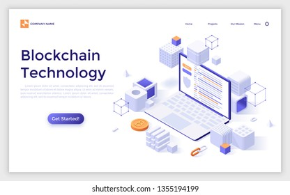 Landing page with laptop computer surrounded by cubes and bitcoins. Concept of blockchain technology. Isometric vector illustration for cryptocurrency project advertisement, presentation, website.