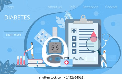 Landing page with magnifier and blood glucose testing meter, doctors, tiny people. Type 2 diabetes and insulin production concept vector.
