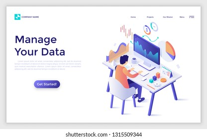Landing page with man or analyst sitting at computer and monitoring statistical or financial market indicators, diagrams, charts and graphs. Statistics and data analysis. Modern vector illustration.