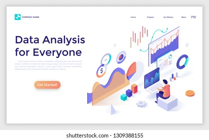 Landing page with man or analyst working on laptop and analyzing statistical or financial information. Big data or stock market analysis for everyone. Isometric vector illustration for web banner.